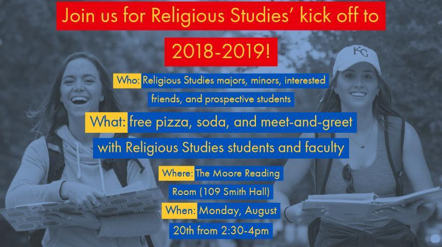 Fall 2018 religious studies undergraduate welcome event