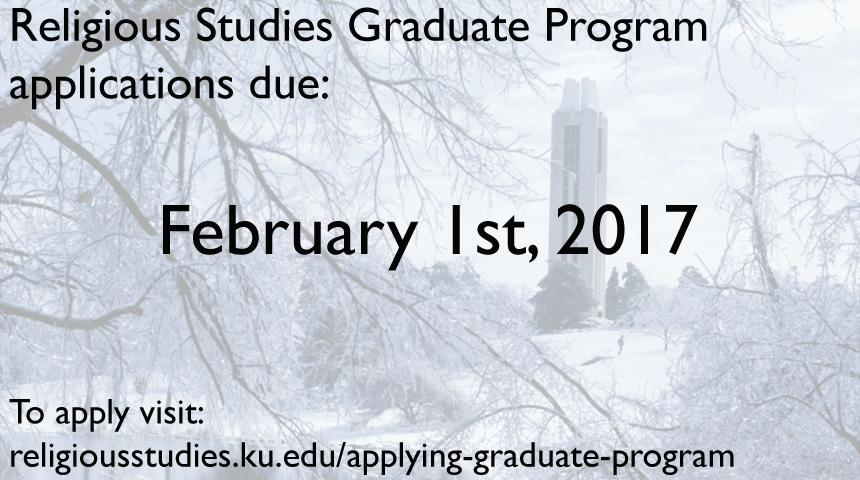 Religious Studies Graduate Program applications due February 1, 2017, to apply visit